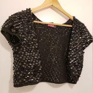 Cropped Shrug Sequin Classic Black Jacket S - L